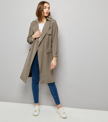 Khaki Soft Belted Military Trench Coat