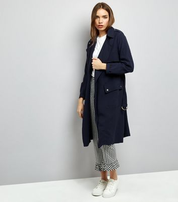 Navy Soft Belted Military Trench Coat