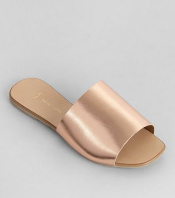 Wide Fit Rose Gold Leather Mules