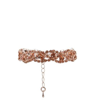 Pink Crystal Plaited Bracelet