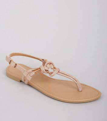 Rose Gold Glitter Metal Ring Toe Post Sandals