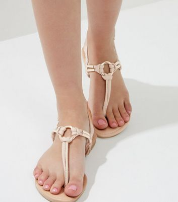 Cream Metal Ring Toe Post Sandals