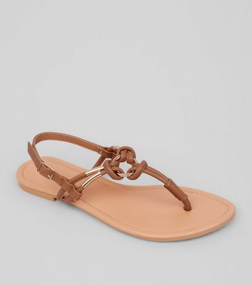 Tan Metal Ring Toe Post Sandals