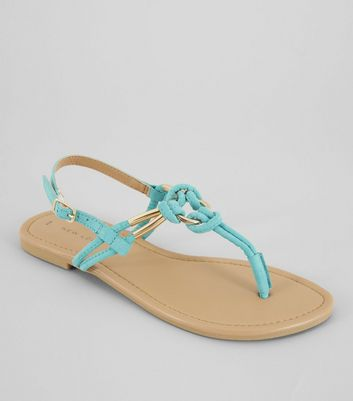 Bright Blue Metal Ring Toe Post Sandals