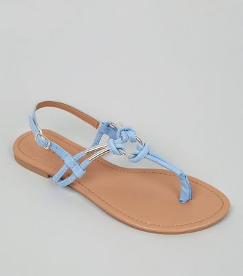 Pale Blue Metal Ring Toe Post Sandals