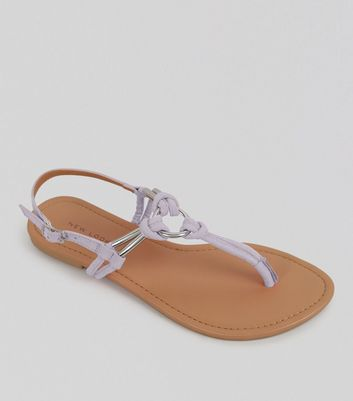 Lilac Metal Ring Toe Post Sandals