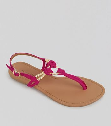 Bright Pink Metal Ring Toe Post Sandals