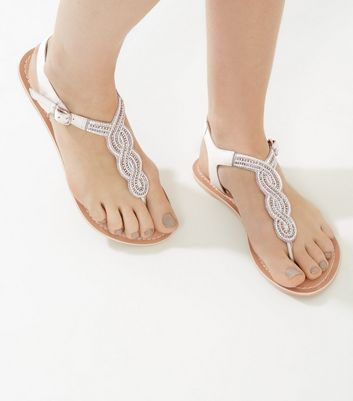 White Beaded Leather Sandals