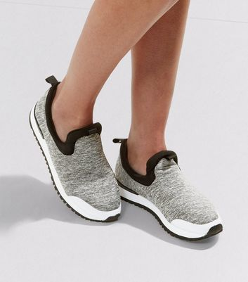 Grey Slip On Contrast Sole Plimsolls