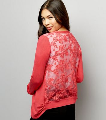 Bright Pink Lace Back Cardigan