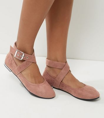 Nude Elasticated Cross Strap Pumps