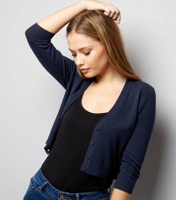 Navy 3/4 Sleeve Cropped Cardigan