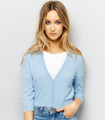 Pale Blue 3/4 Sleeve Cropped Cardigan