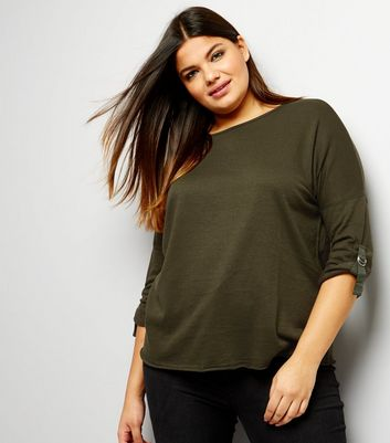 Curves Khaki D Ring Sleeve Sweater