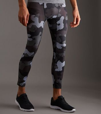 Collants de running noir imprimés camouflage