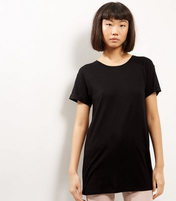 Black Roll Sleeve Boyfriend T-Shirt