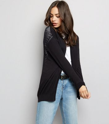 Black Cut Out Back Cardigan