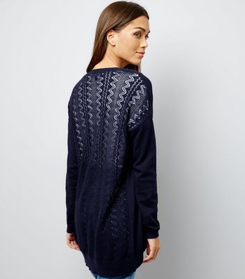 Navy Lace Back Longline Cardigan