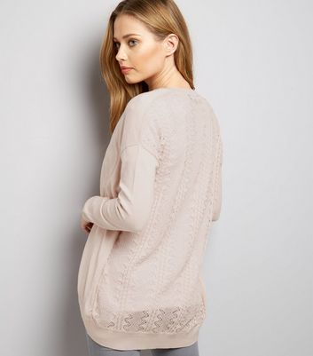 Shell Pink Lace Back Longline Cardigan