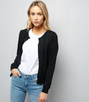 Black Long Sleeve Crew Neck Cardigan