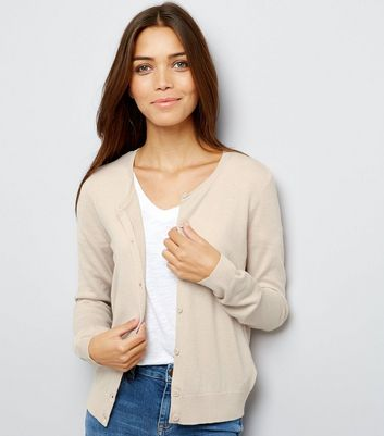 Cream Crew Neck Cardigan