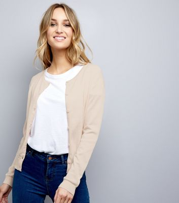 Shell Pink Crew Neck Cardigan