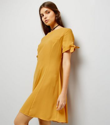 Yellow Tie Sleeve Dress