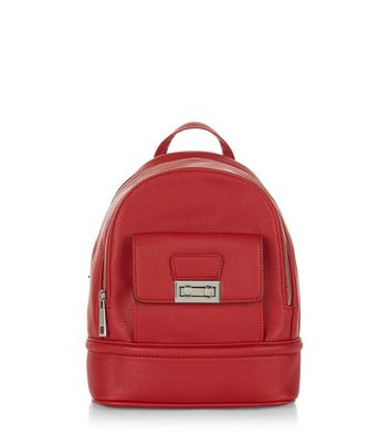 Red Curved Mini Backpack