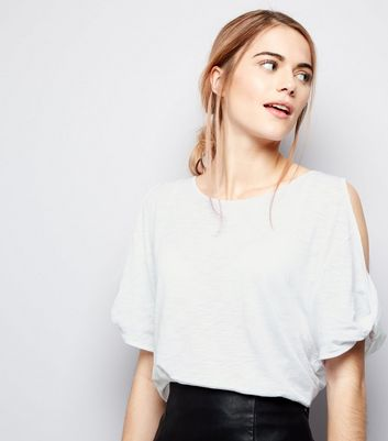 White Twist Cold Shoulder T-Shirt