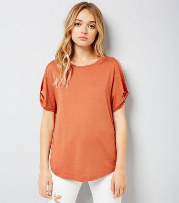 Orange Twist Sleeve Cold Shoulder T-Shirt