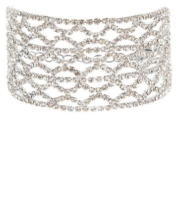 Silver Filigree Diamante Bracelet
