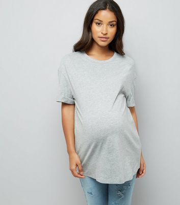 Maternity Grey Rolled Sleeve Oversized T-shirt