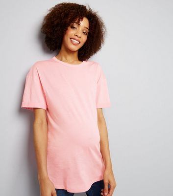 Maternity Pink Rolled Sleeve Oversized T-shirt