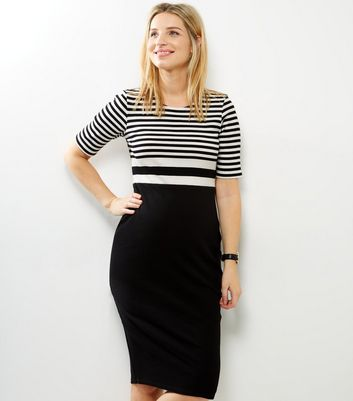 Maternity Black Ribbed Stripe Colour Block Dress