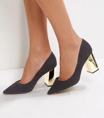 Wide Fit Black Suedette Metal Heel Pointed Court Shoes