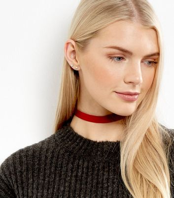 Red Matte Sateen Choker