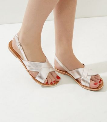 Silver Leather Cross Strap Sling Back Sandals