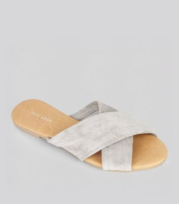 Grey Suede Cross Strap Mules