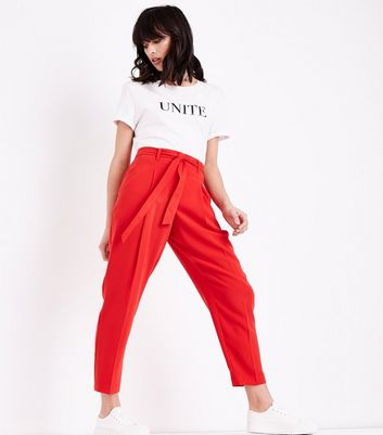Red Tie Waist Trousers