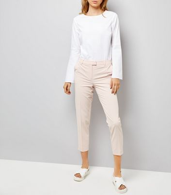 Shell Pink Slim Leg Trousers