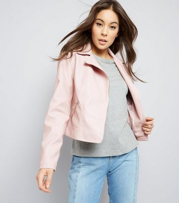 Shell Pink Leather-Look Biker Jacket