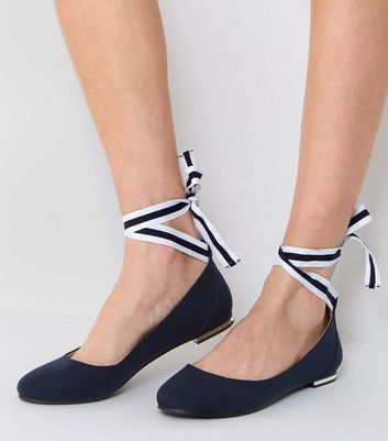 Navy Ankle Tie Pumps