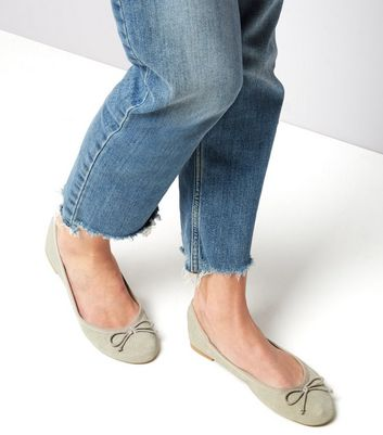 Grey Suedette Perforated Ballet Pumps