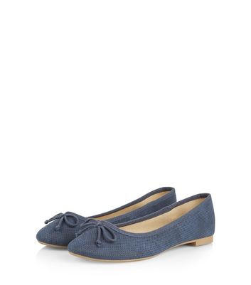 Light Blue Suedette Bow Front Ballet Pumps
