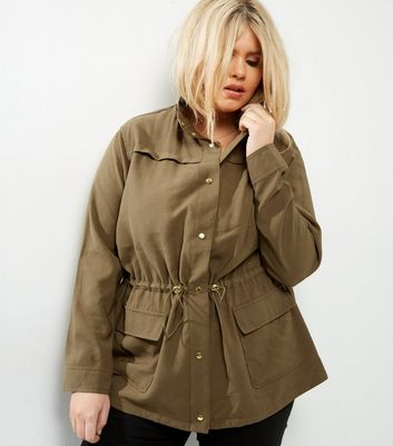 Curves Khaki Button Front Shacket