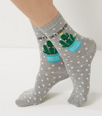 Grey Cactus Can't Touch This Print Socks