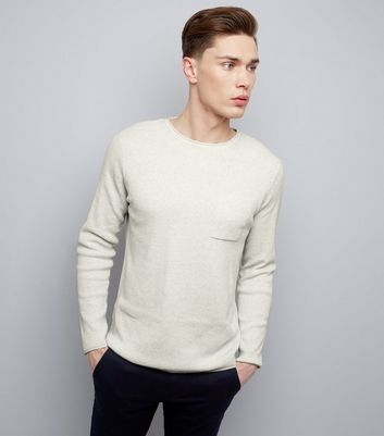 Silver Raw Hem Pocket Front Jumper