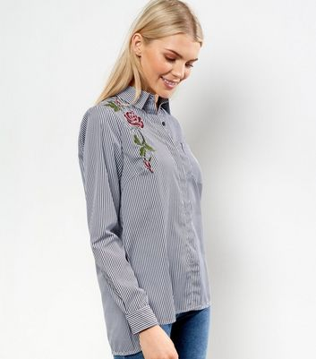 Light Grey Floral Embroidered Stripe Shirt