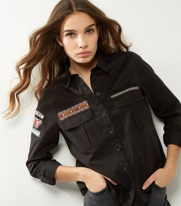 Black Embroidered Trim Military Shirt