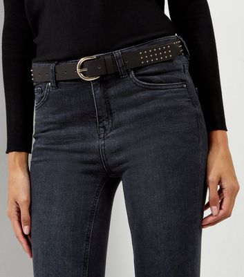 Black Pin Stud Jeans Belt